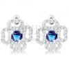 Fülbevaló 925 ezüstből, átlátszó csillogó virágkörvonal, kerek kék cirkónia