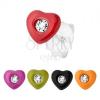 Ezüst 925 fülbevaló, szív színes fénymázas dísszel, átlátszó cirkónia