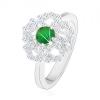 Gyűrű 925 ezüstből, csillogó virág, átlátszó szirom körvonallal és zöld középpel