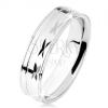 Gyűrű 925 ezüstből, fényes felszín bevágásokkal, vékony vonal