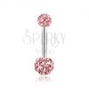 Piercing sebészeti acélból, rózsaszín golyók csillogó cirkóniákkal kirakva