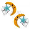 925 ezüst fülbevaló, sárga hold és világoskék csillag, beszúrós