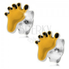 925 ezüst fülbevaló, lábacska sárga és fekete fénymázzal
