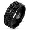 Gyűrű 316L acélból fekete színben, csillogó cirkóniás vonalak