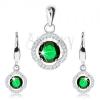 925 ezüst szett, medál és fülbevaló, zöld cirkónia, átlátszó hullámos keret