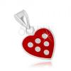 Medál 925 ezüstből, szív piros fénymázzal fedve, fehér pontok