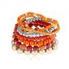 Rugalmas multikarkötő, különböző alakú gyöngyök, piros, narancssárga, arany színben