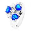 Gyűrű ezüst színben, fényes szárak, sötétkék virág átlátszó középpel
