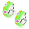925 ezüst fülbevaló, karika, világos zöld fénymáz színes pöttyökkel