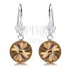 925 ezüst fülbevaló, kerek Swarovski kristályok arany színben, levél, 11 mm
