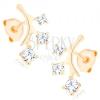 585 arany fülbevaló - csillogó ág, három kerek átlátszó cirónia