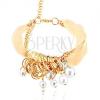 Kombinált karkötő - fehér szalag és lánc, arany színben, gyűrűk, gyöngyök