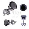 Fényes acél fülbevaló, kerek cirkónia fekete színben, 9 mm