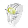 Csillogó gyűrű ezüst árnyalatban, színes ovális cirkóniák, fényes sávok, átlátszó cirkóniák