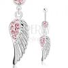 Piercing 316L acélból, ezüst szín, angyal szárny, rózsaszín cirkóniák