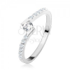 925 ezüst gyűrű, kerek átltászó cirkónia az ívelt szárak között