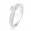 Csillogó eljegyzési gyűrű, 925 ezüst, átlátszó cirkóniás vonal, kerek cirkónia