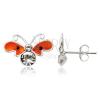 Fülbevaló 925 ezüstből - lapos narancssárga lepke, cirkóniák