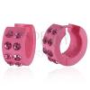 Akril fülbevaló - rózsaszín karikák cirkonkövekkel