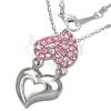 Nyaklánc fém és rózsaszín strasszos szív medállal