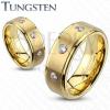 Tungsten gyűrű - csiszolt középső sáv három cirkóniával