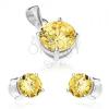 Szett fülbevalóból és medálból, 925 ezüst, kerek világossárga cirkónia