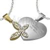 Acél kettős medál, ezüst és arany szín, szív felirattal, lepke kivágásokkal