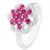 Csillogó gyűrű, 925 ezüst, fényes szárú, virág rózsaszín és átlátszó cirkóniákból