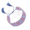 Karkötő indián mintával, csillogó gyöngyök, kék és lila szín