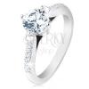Eljegyzési gyűrű, 925 ezüst, díszített szárak, kerek áttetsző cirkónia