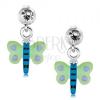 Fülbevaló 925 ezüstből, pillangó zöld-kék szárnyakkal és lila pöttyökkel