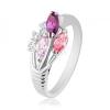 Ezüst színű gyűrűr, három színes és átlátszó cirkónia