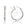 925 ezüst fülbevaló - hasáb forma, cikkcakk bevágások, 17 mm