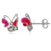925-ös ezüst fülbevaló - csapdosó lepke, két cirkónia
