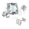 925 ezüst fülbevaló, csiszolt négyzet alakú cirkónia, 3 mm