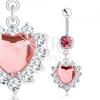 Köldökpiercing 316L acélból, rózsaszín cirkóniás szív, átlátszó csillogó szegély