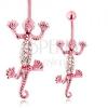 Acél köldökpiercing, mozgó gyík rózsaszínben, átlátszó cirkóniák