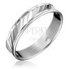 925 ezüst karikagyűrű - diagonális bemélyedések, tagolt kerület