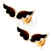 Fülbevaló 14K sárga aranyból - kettős angyal szárny, fekete fénymáz