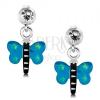 Fülbevaló 925 ezüstből, pillangó kék szárnyakkal és zöld csillagokkal