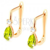 Fülbevaló 14K sárga aranyból - átlátszó cirkóniák és zöld cirkóniás csepp