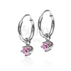 Fülbevaló 925 ezüstből - kis karika, rózsaszín cirkónia kehelyben