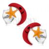 Fülbevaló 925 ezüstből, piros hold, sárga csillag, fénymáz, beszúrós