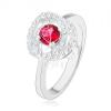 925 ezüst gyűrű, fényes szárral, kettős szegély és sötétrózsaszín cirkónia dísszel