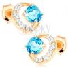 14K sárga arany fülbevaló - cirkóniák félhold alakban, kör alakú kék topáz