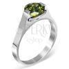 Gyűrű nemesacélból - zöld Május holdkő, kétoldalon fogattal