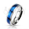 Karikagyűrű orvosi acélból - fényes kék sáv és bordázott szegély