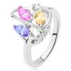 Gyűrű ezüst színben, szívkörvonal, színes cirkóniák, tiszta kövecske