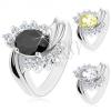 Ezüst színű gyűrű, hullámos szárak bevágással, cirkóniás ovális