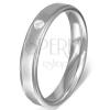 Gyűrű acélból - szaténfényű sáv, cirkónia